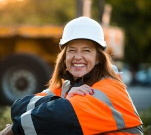 Smiling Construction Worker at Fire and Safety Australia